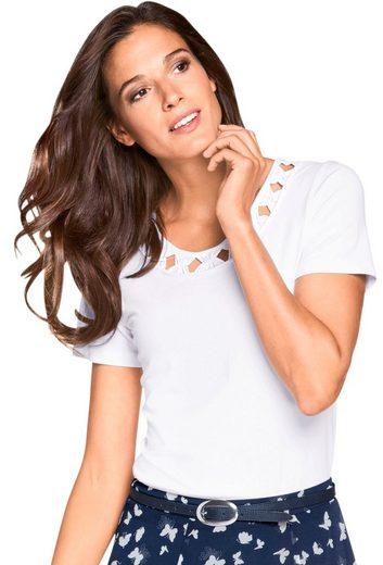 Fair Lady Shirt mit Raffungen in Schleifen-Optik am Ausschnitt