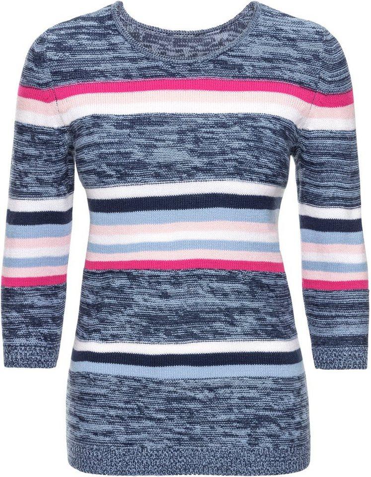 Damen Classic Basics Pullover im abwechslungsreichen Links-Rechts-Strick blau, grau | 08941101706977