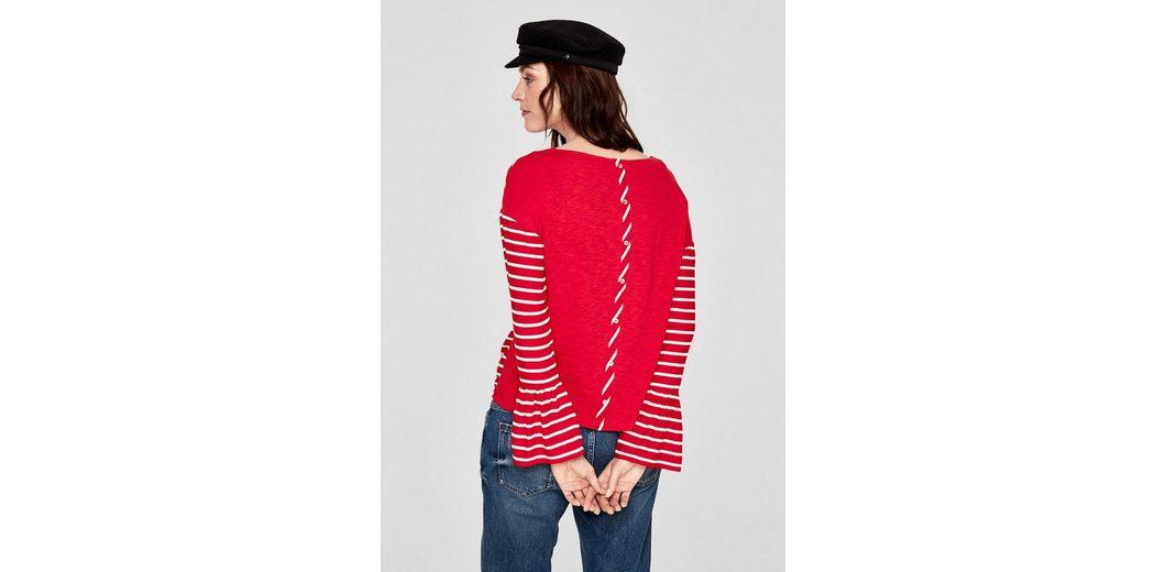 s.Oliver RED LABEL Volant-Shirt mit gestreifter Front Billig Rabatt Offiziell Günstiger Preis Niedrig Versandgebühr Kaufen Billig HvNJrA