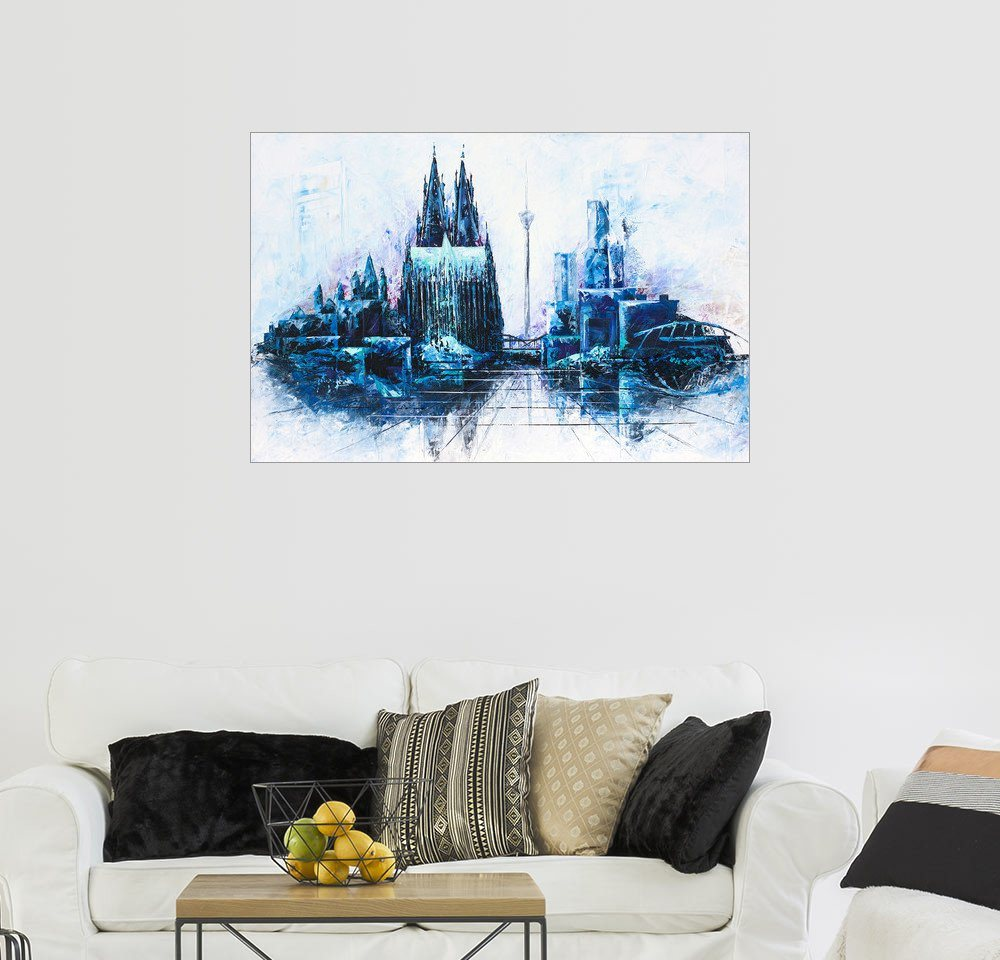 posterlounge wandbild renate berghaus kolner dom skyline blau