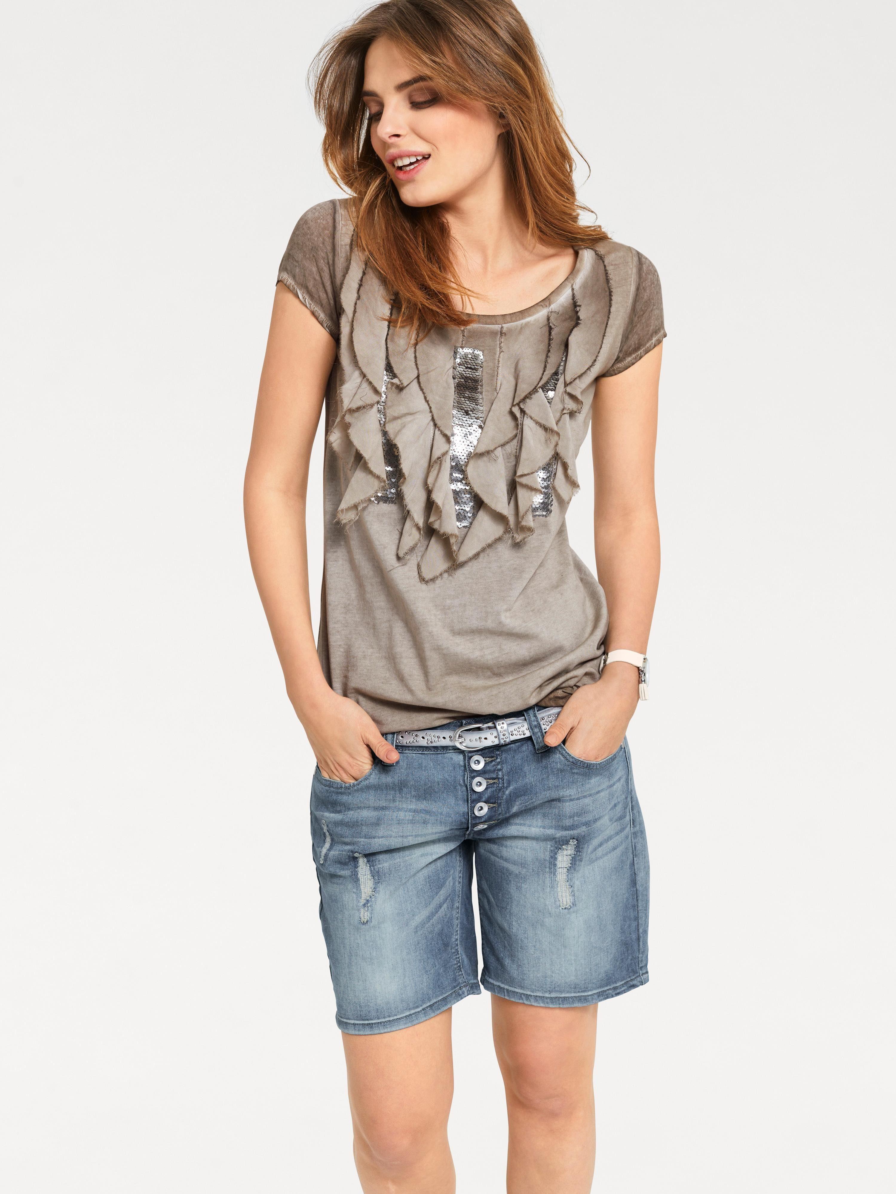 Pailletten Shirt Heine Kaufen Volant Und Casual KT5l1cFJ3u