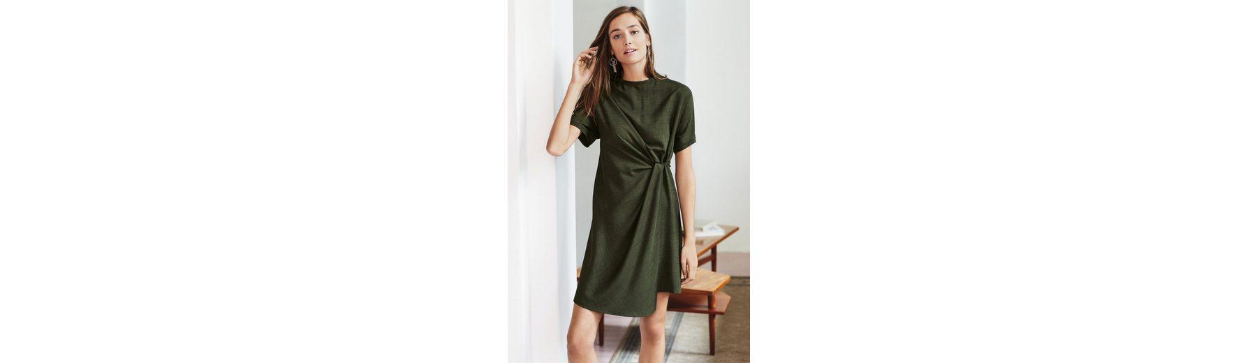Next Geknotetes Kleid mit Kreuzschraffur, schwarz