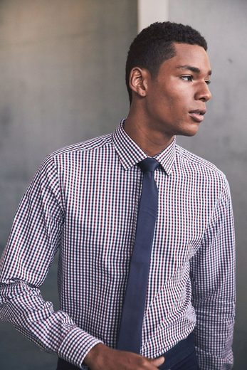 Next Regular-fit Shirt With Vichymuster, Tie The Set With