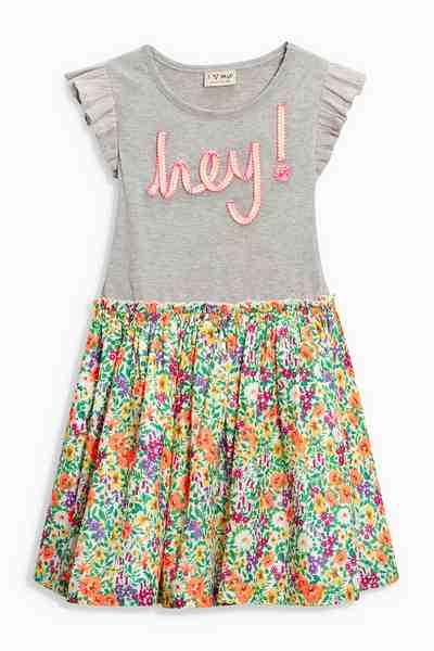 Next Kleid mit Aufschrift und Blumenmuster