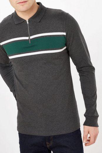 Next Langärmeliges Poloshirt mit Streifen auf der Brust und RV-Kragen
