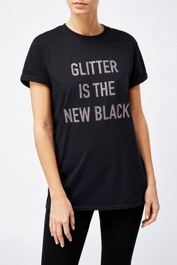 Next T-Shirt mit Glitzer-Schriftzug
