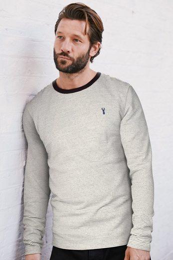 Next Gestreifter Pullover mit Rundhalsausschnitt und Logo