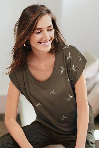 Next T-Shirt mit Vogelmuster