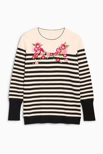 Next Pullover mit Streifen und Stickdetails