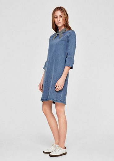 s.Oliver RED LABEL Besticktes Denim-Kleid mit Volants