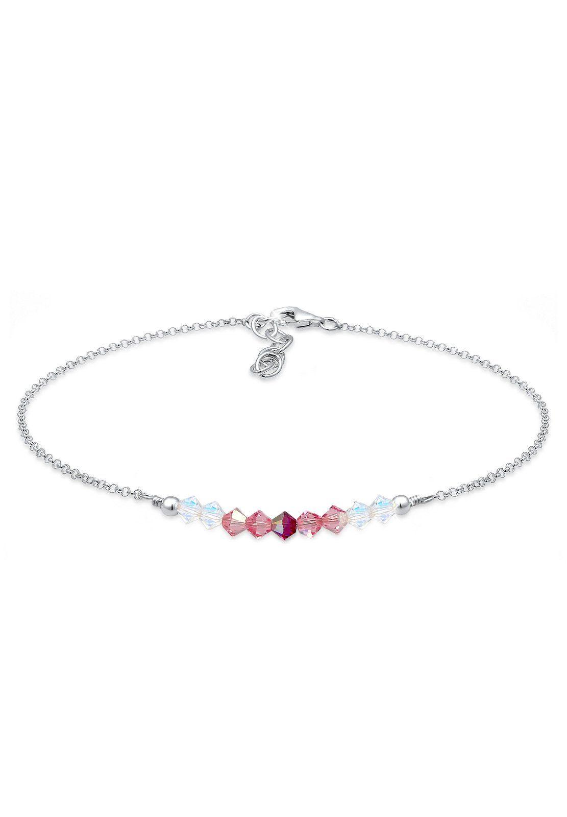Elli Fußschmuck »Kugel Strand Meer Swarovski® Kristalle 925 Silber«