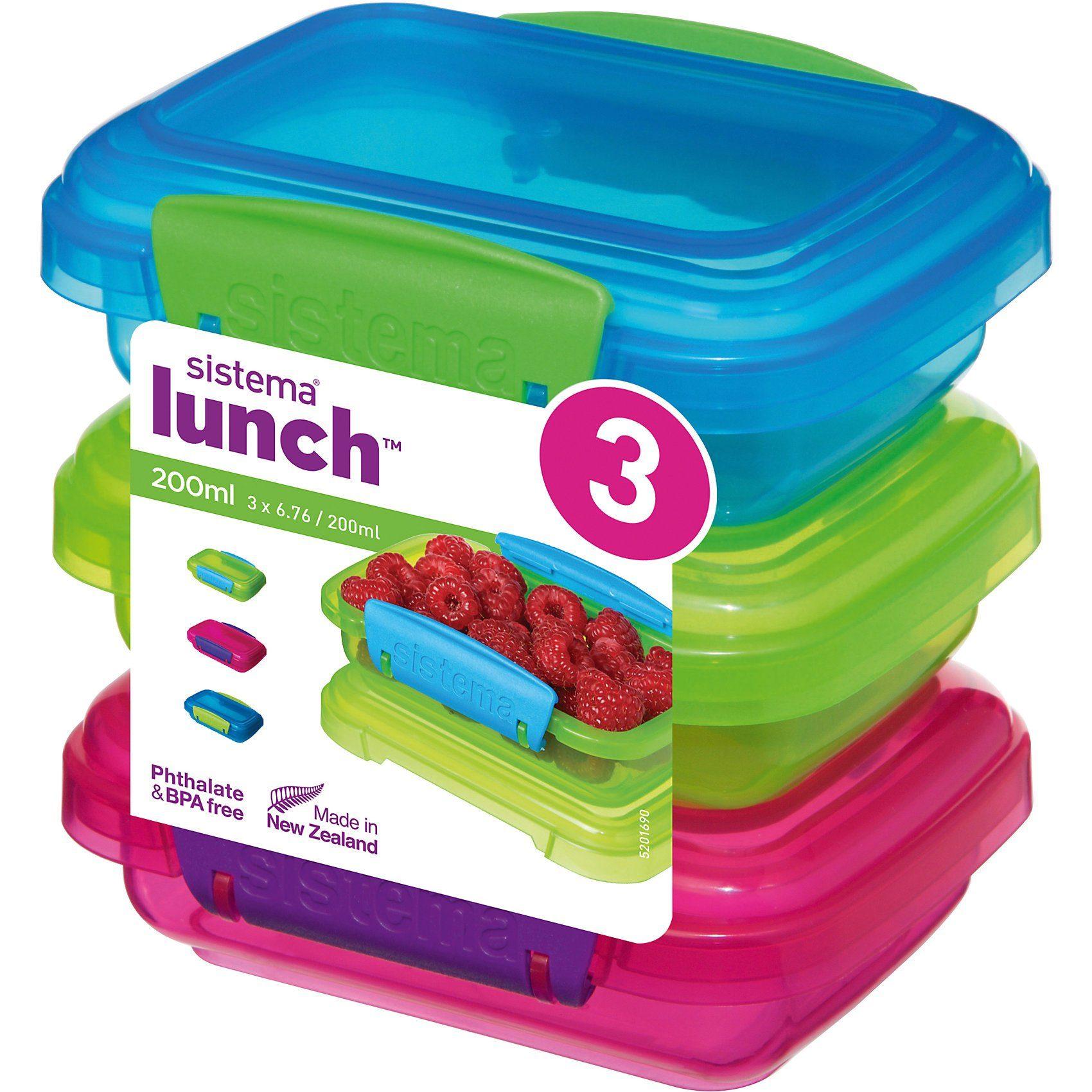 sistema LUNCH Frischhaltedosen Coloured, 3 Stück