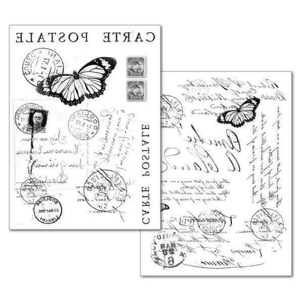 """Stamperia Transfer-Papier """"Carte Postale"""" 2 Stück"""