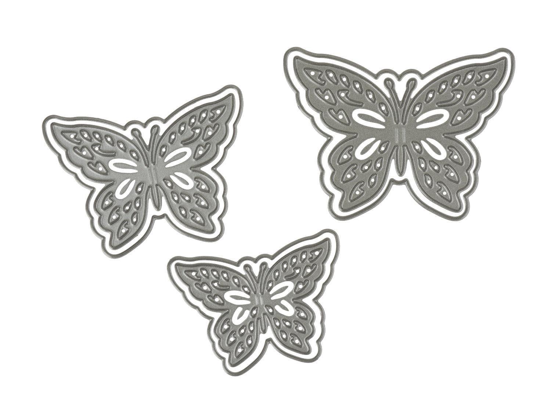 """Stanz- & Prägeschablone """"Butterflies"""" 3 Stück"""