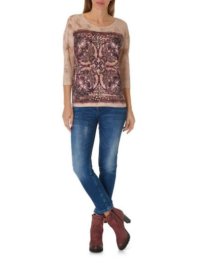 Betty Barclay Shirt With Jeans And Round Neck