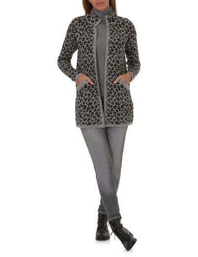 Betty Barclay Lange Strickjacke im Leo Print