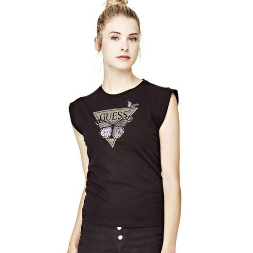 Guess T-SHIRT PRINT MIT STICKEREI
