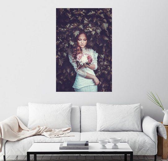 Posterlounge Wandbild »Pfingstrose und Efeu«