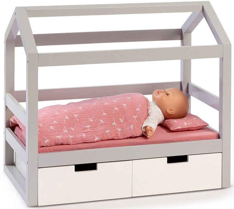 MUSTERKIND® Puppenbett »Puppen-Hausbett Viola, grau/weiß«, aus Holz