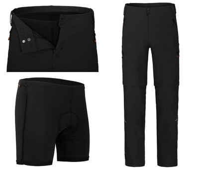 Bergson Fahrradhose »PORVOO Zipp-Off (mit gepolsterter Innenhose)« Herren Radhose, robust, elastisch, Normalgrößen, schwarz