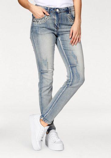 Vivance Slim-fit-Jeans, mit Glitzersteinen, Nieten und Zierperlen