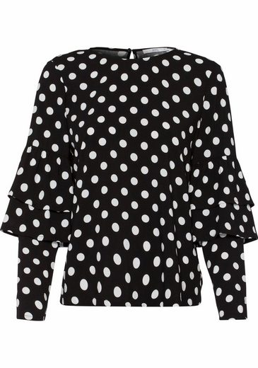 Edc By Esprit Printed Blouse, And Score With Volants