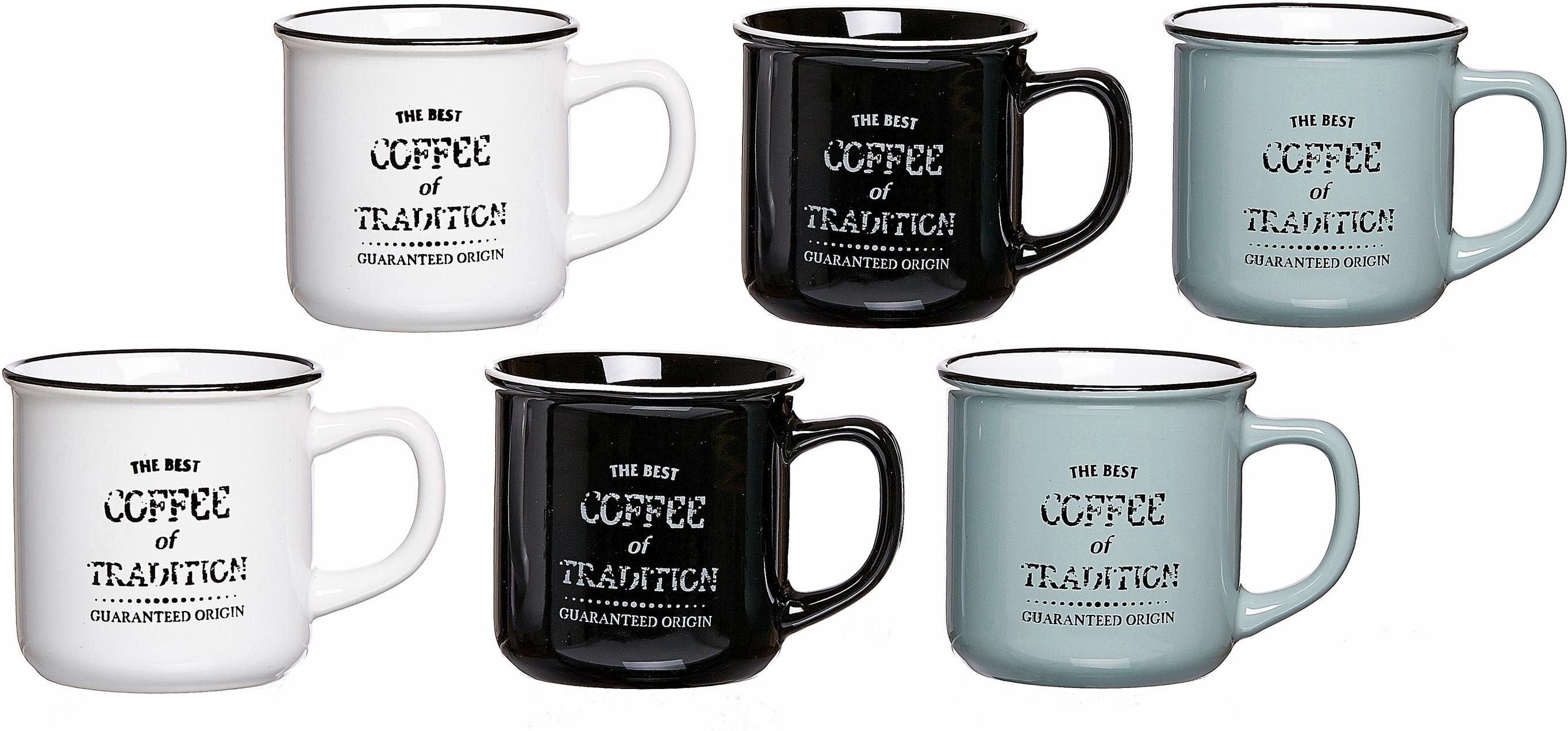 Ritzenhoff & Breker Kaffeebecher, Steinzeug, 6 Stück, »Best Coffee«