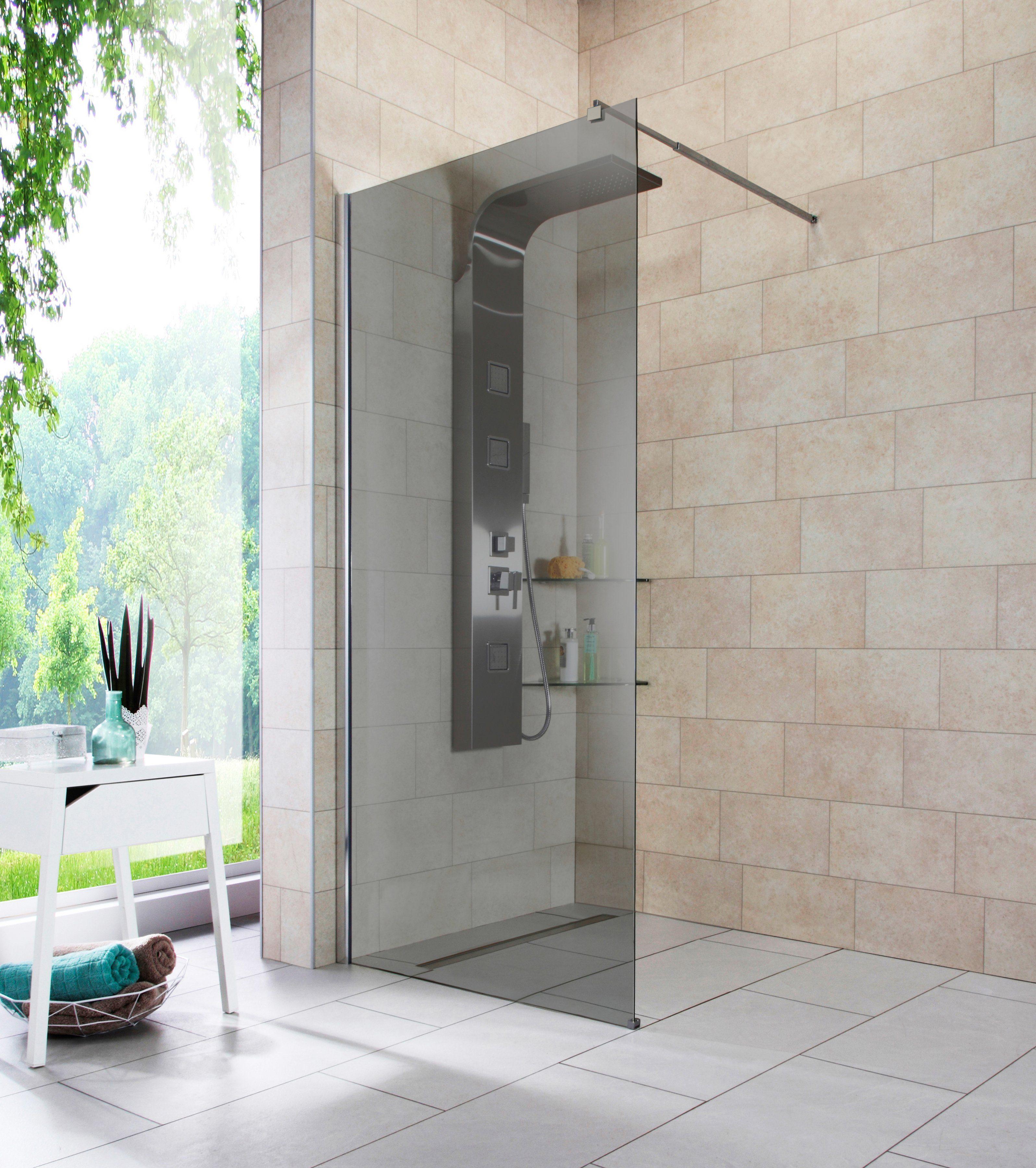 Walk-In Dusche »Duschabtrennung«, Breite 90 cm, Grauglas
