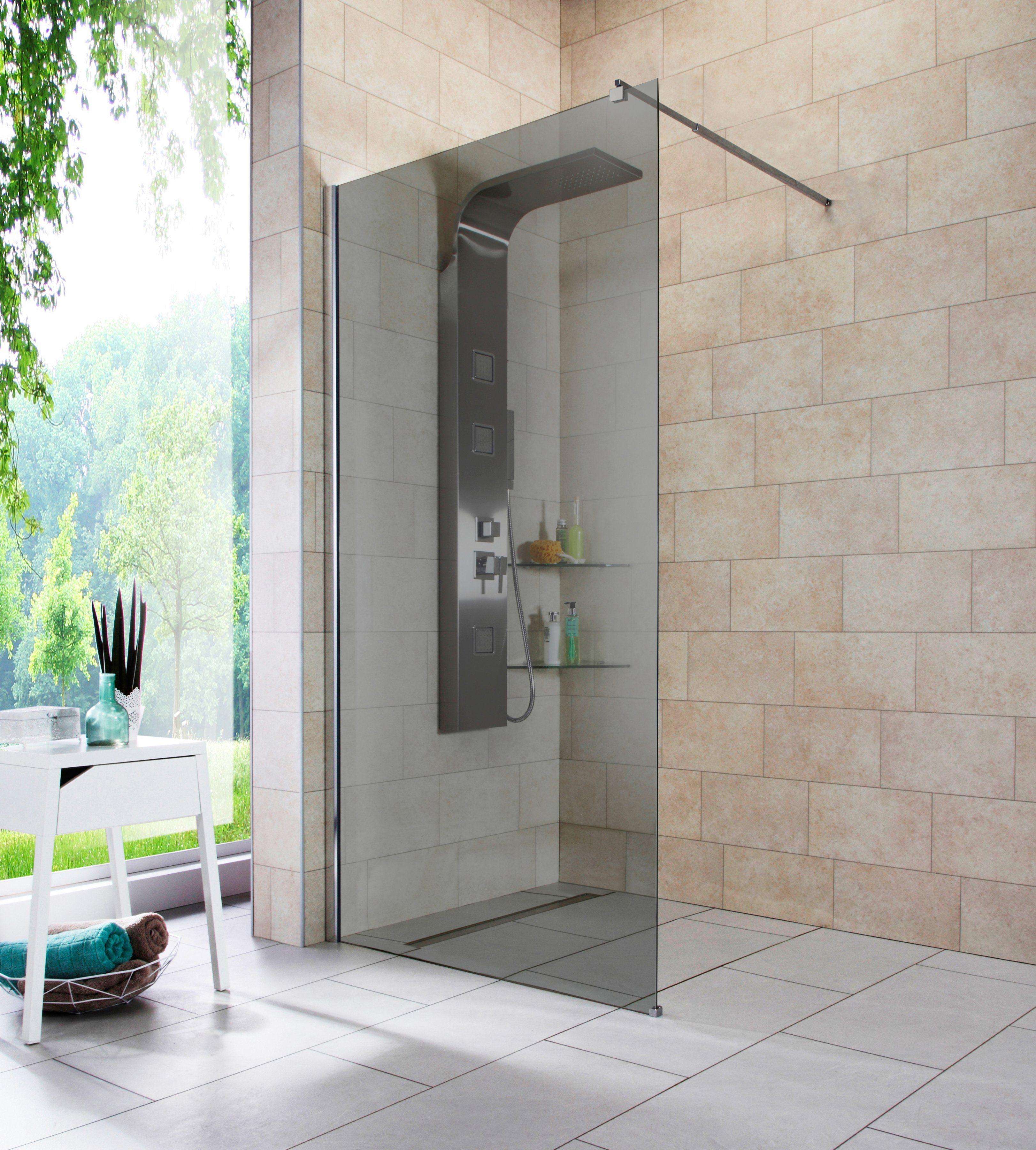Walk-In Dusche »Duschabtrennung«, Breite 100 cm, Grauglas