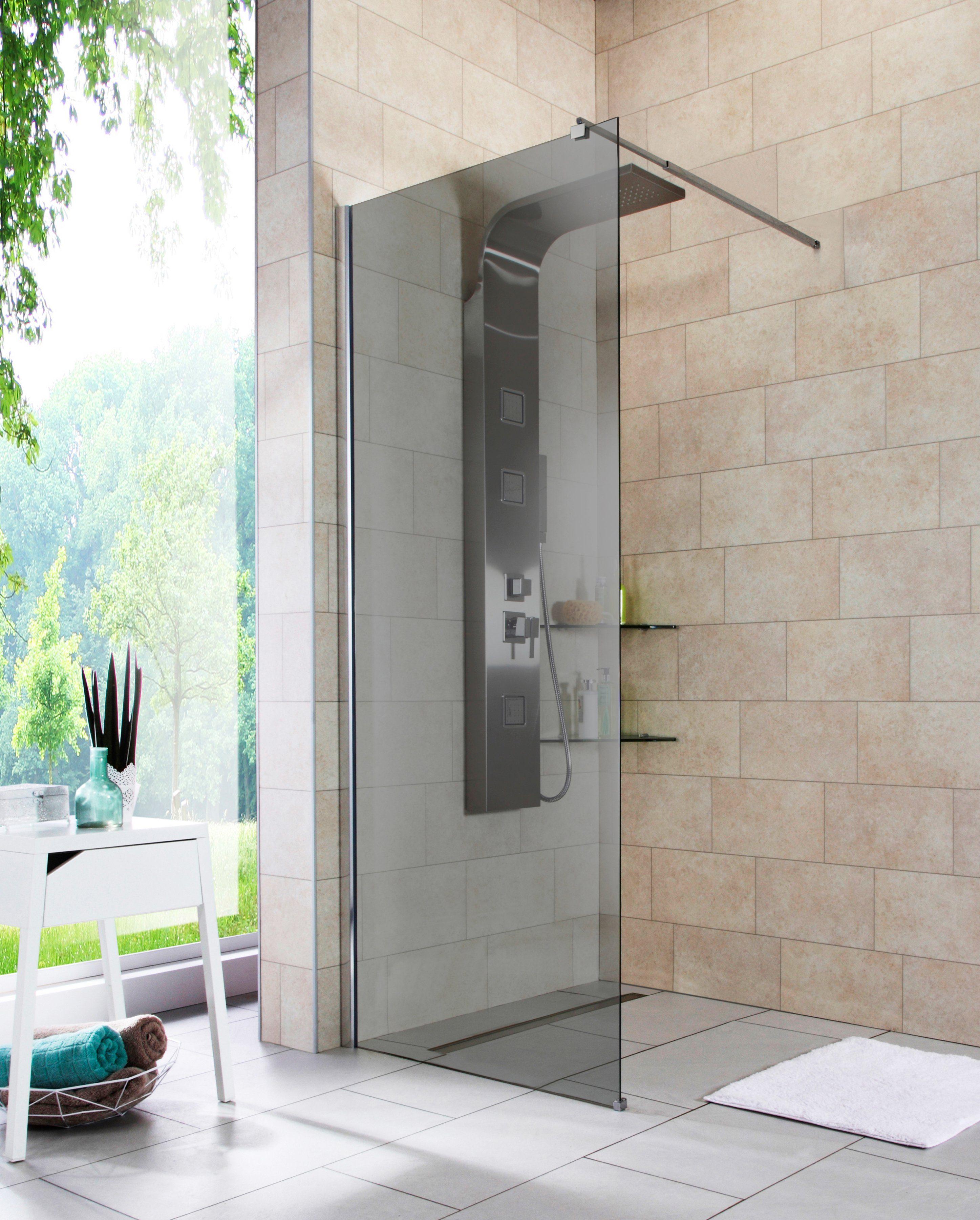 Walk-In Dusche »Duschabtrennung«, Breite 80 cm, Grauglas
