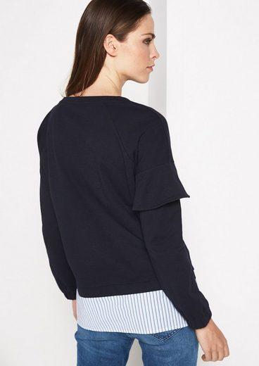 COMMA Longsleeve Sweater mit Volantverzierung