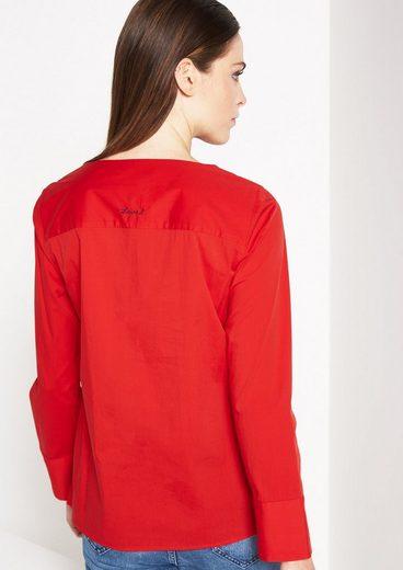 COMMA Elegante Langarmbluse mit feinem Statement-Stitching
