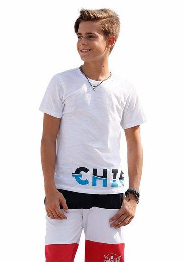 Chiemsee T-Shirt mit farbigem Druck über dem Saum