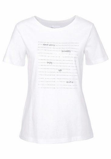 IN LINEA T-Shirt, mit tollen Glitzersteinen und Print vorne
