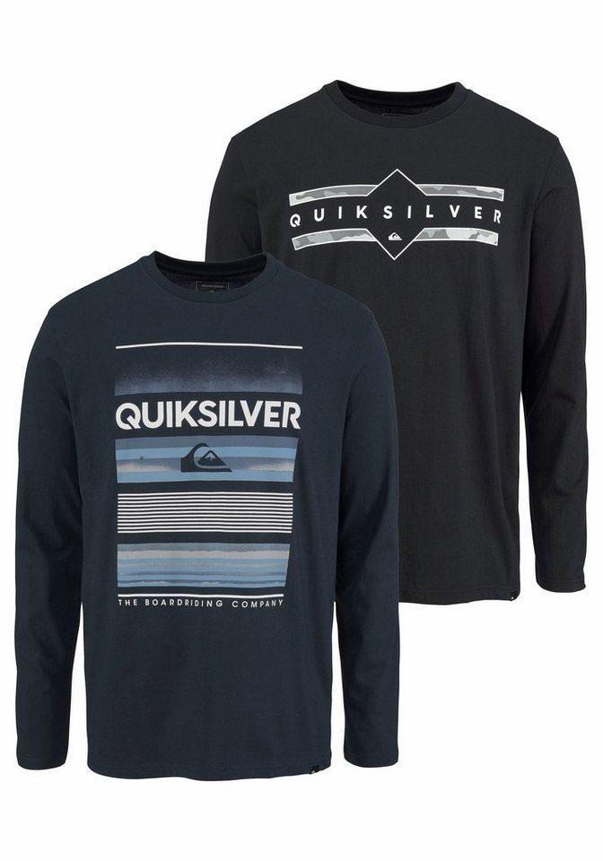 Herren Quiksilver Langarmshirt LS FLAXTON PACK (Packung 2 tlg. 2er-Pack) blau | 03613374024557