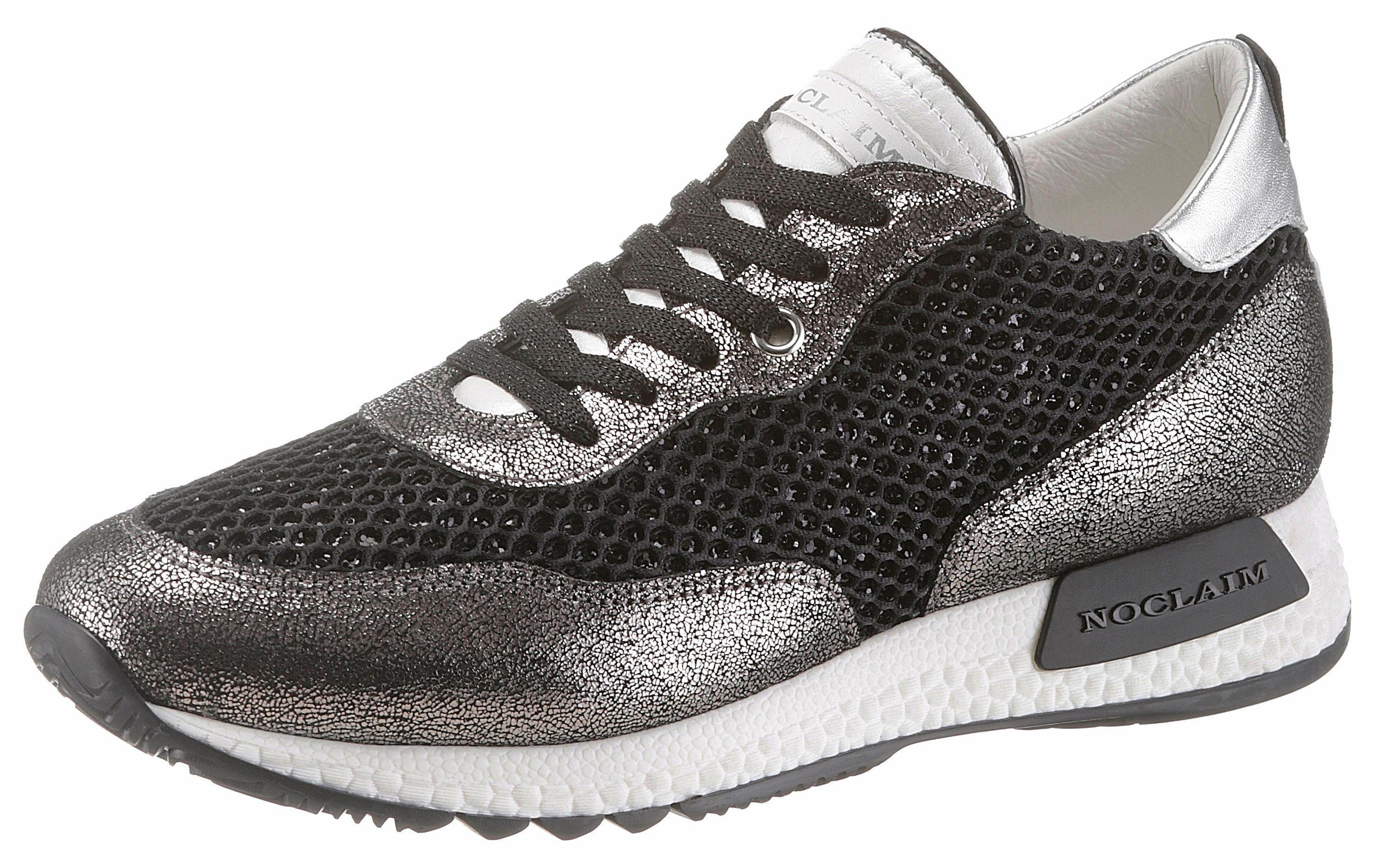 NOCLAIM Sneaker, mit funkelnden Pailletten, weiß, weiß-silberfarben