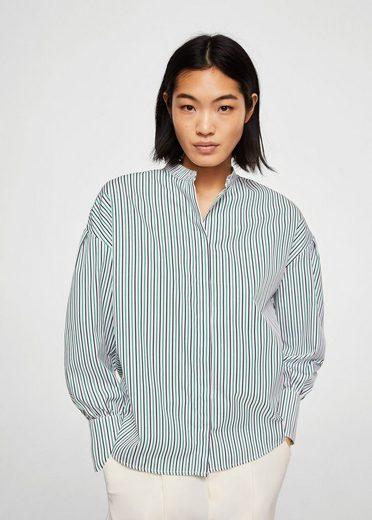 MANGO Streifenhemd mit Mao-Kragen