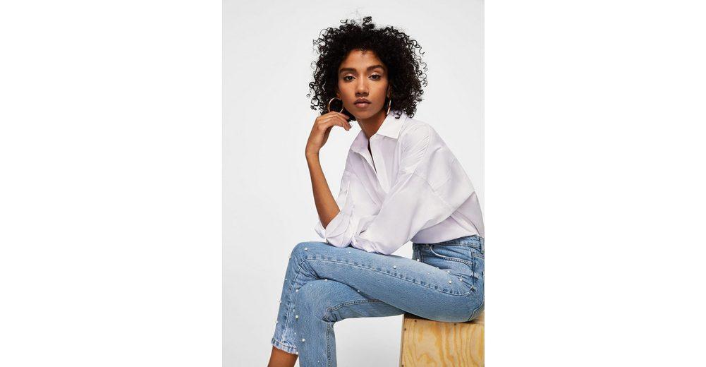 MANGO Straight Jeans mit Perlenverzierung Neueste Zum Verkauf lMO7c