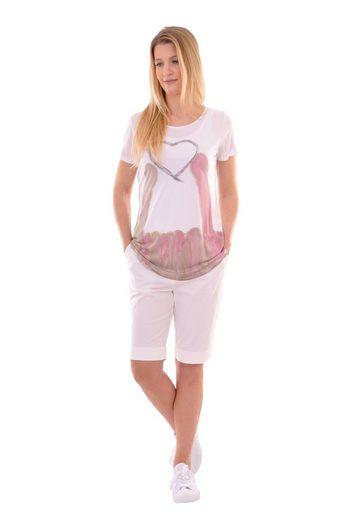 NAVIGAZIONE Rundhalsshirt, Herz-Motiv, Figurbetont, super kombinierbar mit weißer Hose oder Rock