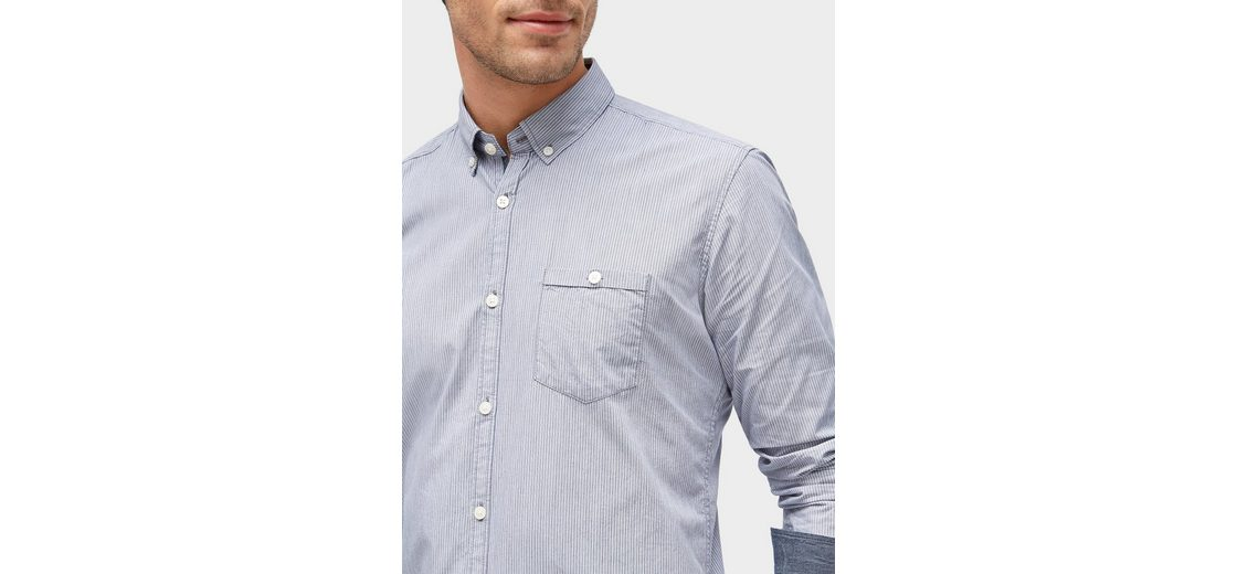 Webseite Günstiger Preis Tom Tailor Langarmhemd gestreiftes Hemd mit Brusttasche Freies Verschiffen Auslass Günstig Kaufen Modisch Besuchen Neu Zu Verkaufen nhFGg