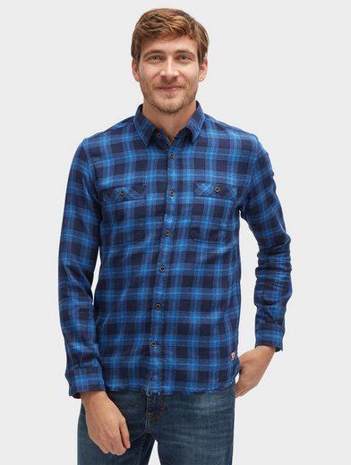 Tom Tailor Langarmhemd kariertes Hemd mit Brusttaschen