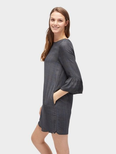Tom Tailor Denim Blusenkleid kariertes Kleid mit Volant-Ansatz