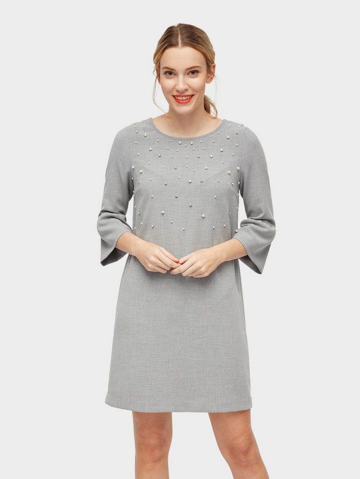 tom tailor a-linien-kleid »kleid mit perlen-applikation