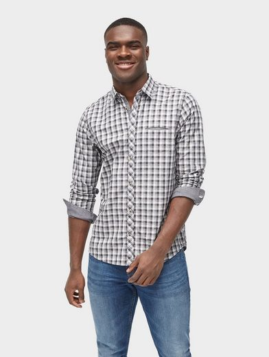 Tom Tailor Long-sleeved Shirt Plaid Shirt With Chest Pocket
