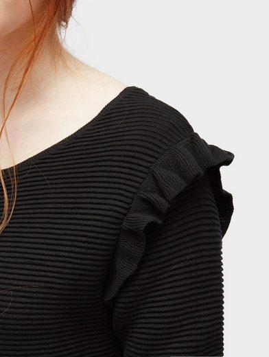 Tom Tailor Denim Strickkleid Strickkleid mit Rüschen-Aufsatz