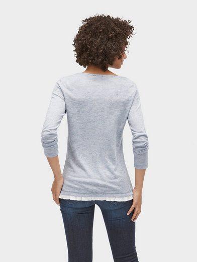 Tom Tailor Langarmshirt gestreiftes Shirt mit Rüschen-Saum