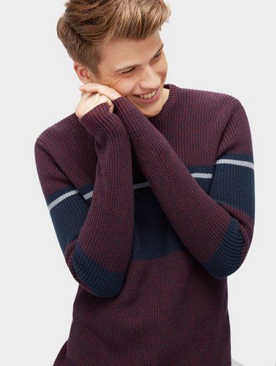 Tom Tailor Denim Rundhalspullover Pullover in Colour-Block-Optik