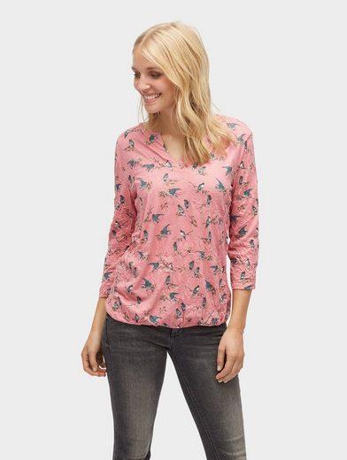 Tom Tailor 3/4-Arm-Shirt Crinkle-Shirt mit Vogel-Print