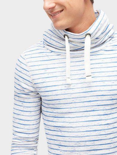 Tom Tailor Sweater gestreiftes Sweatshirt mit Print