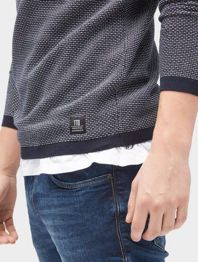 Tom Tailor Denim Crew-neck Pullover In Structure-mix